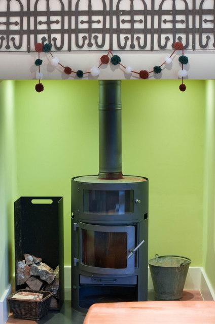 Pom Pom garland fireplace