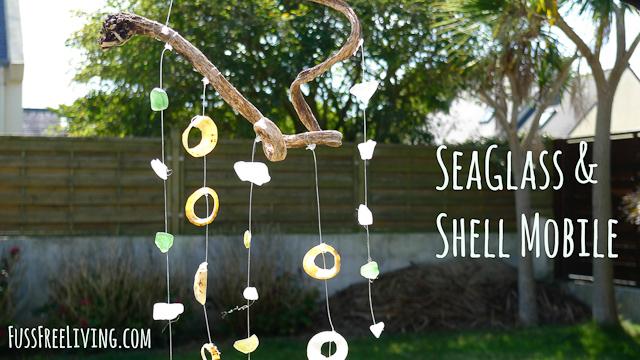 Seaglass and shell mobile
